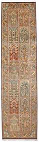 Kashmir Čistá Hedvábí Koberec 79X305 Orientální Ručně Tkaný Běhoun Světle Hnědá/Tmavě Hnědá (Hedvábí, Indie)