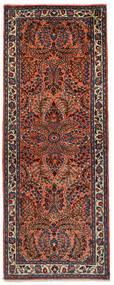 Sarough Koberec 72X190 Orientální Ručně Tkaný Běhoun Tmavě Červená/Černá (Vlna, Persie/Írán)