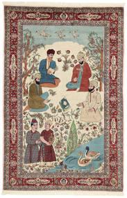 Sarough Koberec 143X213 Orientální Ručně Tkaný Béžová/Tmavě Hnědá (Vlna/Hedvábí, Persie/Írán)