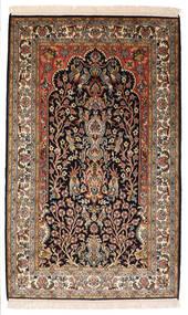 Kashmir Čistá Hedvábí Koberec 82X132 Orientální Ručně Tkaný Černá/Tmavě Hnědá (Hedvábí, Indie)