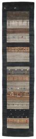 Loribaf Loom Koberec 79X340 Moderní Ručně Tkaný Běhoun Černá/Světle Šedá (Vlna, Indie)