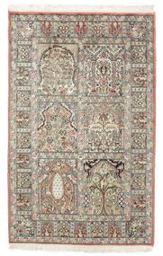 Kashmir Čistá Hedvábí Koberec 77X127 Orientální Ručně Tkaný Tmavě Hnědá/Béžová (Hedvábí, Indie)