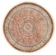 Kashmir Čistá Hedvábí Koberec Ø 183 Orientální Ručně Tkaný Oválný Hnědá/Tmavě Červená (Hedvábí, Indie)