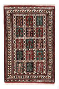 Turkaman Koberec 98X146 Orientální Ručně Tkaný Tmavě Hnědá/Tmavě Červená (Vlna, Persie/Írán)