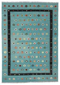 Kelim Nimbaft Koberec 208X292 Moderní Ruční Tkaní Tmavý Turquoise/Černá (Vlna, Afghánistán)