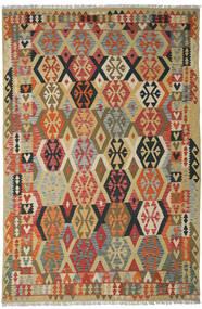 Kelim Afghán Old Style Koberec 205X311 Orientální Ruční Tkaní Tmavě Červená/Tmavá Béžová (Vlna, Afghánistán)