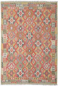 Kelim Afghán Old Style Koberec 206X300 Orientální Ruční Tkaní Tmavě Červená/Světle Šedá (Vlna, Afghánistán)