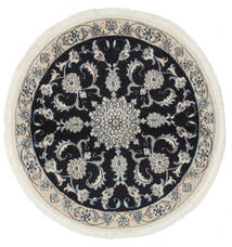 Nain Koberec Ø 100 Orientální Ručně Tkaný Oválný Černá/Bílý/Krém (Vlna, Persie/Írán)