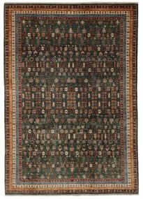 Shabargan Koberec 204X281 Moderní Ručně Tkaný Černá/Tmavě Hnědá (Vlna, Afghánistán)