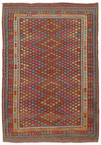 Kelim Afghán Old Style Koberec 215X304 Orientální Ruční Tkaní Tmavě Hnědá/Tmavě Zelený (Vlna, Afghánistán)