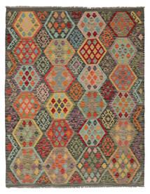 Kelim Afghán Old Style Koberec 160X204 Orientální Ruční Tkaní Tmavě Hnědá/Tmavě Zelený (Vlna, Afghánistán)